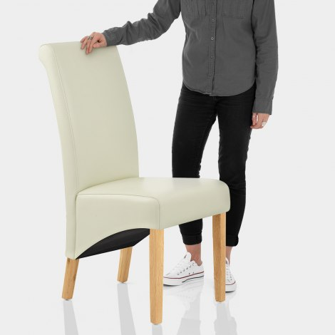 Carlo Oak Chair Cream Leather Features Image