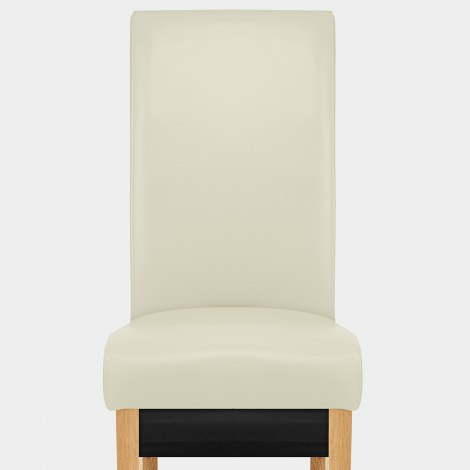 Carlo Oak Chair Cream Leather Seat Image