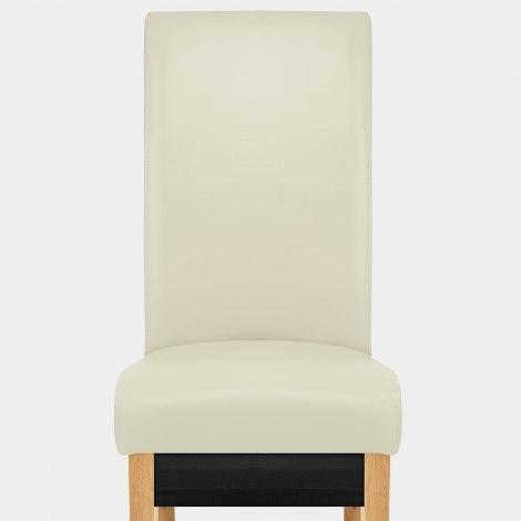 Carlo Oak Chair Cream Leather Seat Image