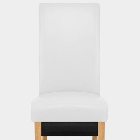 Carlo Oak Chair White Leather Seat Image