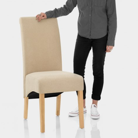 Carlo Oak Chair Beige Fabric Features Image