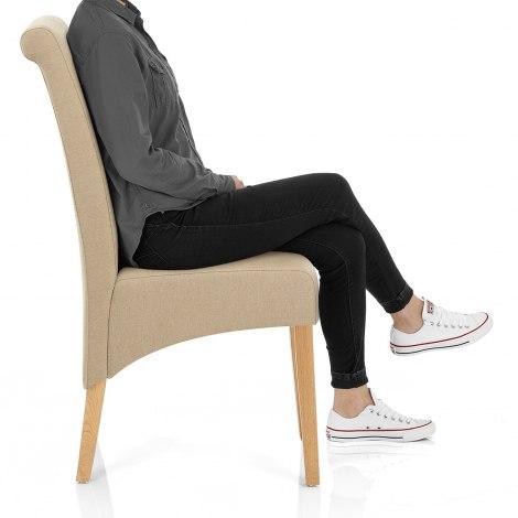 Carlo Oak Chair Beige Fabric Seat Image
