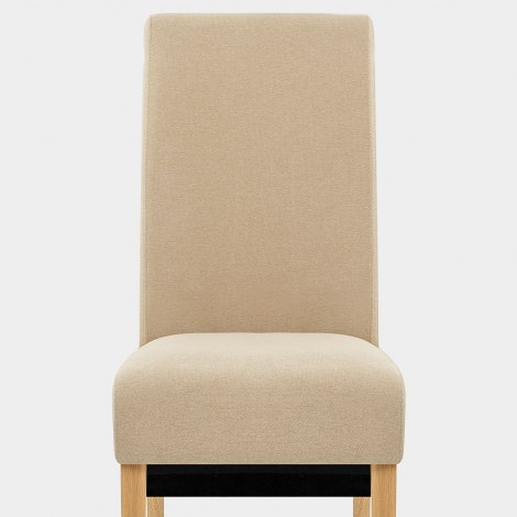 Carlo Oak Chair Beige Fabric Seat Image