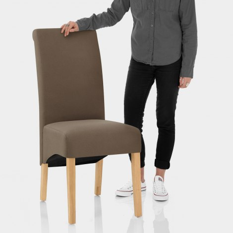 Carlo Oak Chair Brown Fabric Features Image