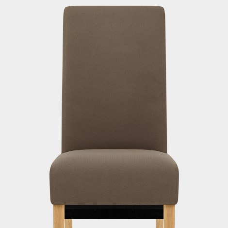 Carlo Oak Chair Brown Fabric Seat Image
