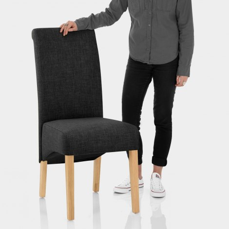 Carlo Oak Chair Charcoal Fabric Features Image