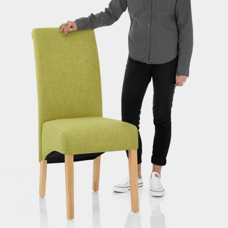 Carlo Oak Chair Green Fabric Features Image