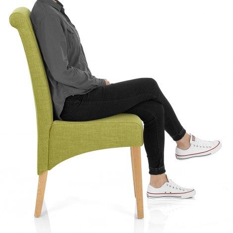 Carlo Oak Chair Green Fabric Frame Image