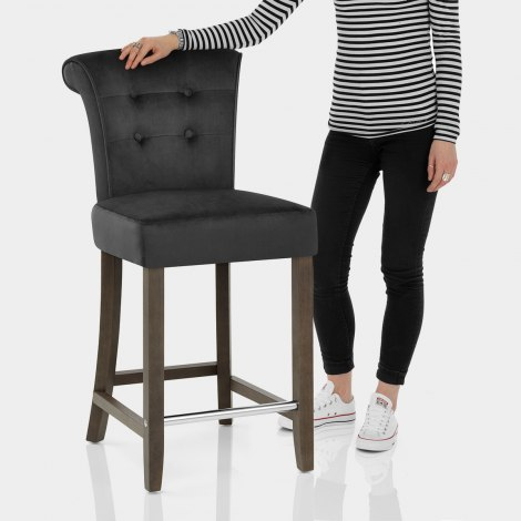 Carlton Scroll Back Stool Black Velvet Features Image