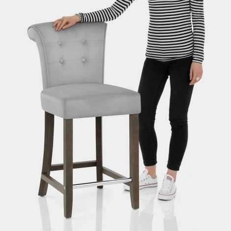Carlton Scroll Back Stool Grey Velvet Features Image