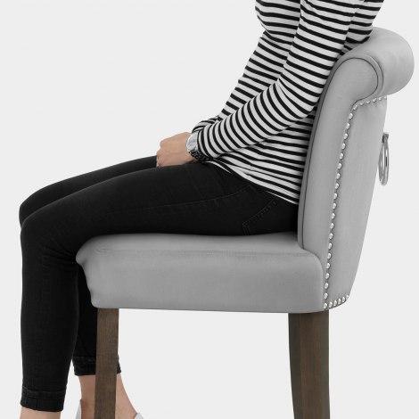 Carlton Scroll Back Stool Grey Velvet Seat Image