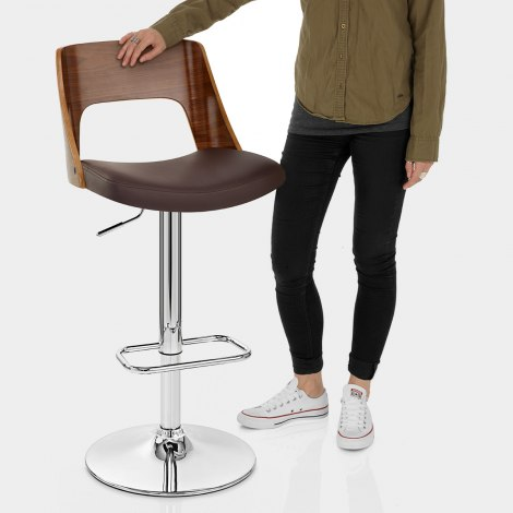 Carmen Leather Bar Stool Walnut & Brown Features Image