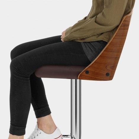Carmen Leather Bar Stool Walnut & Brown Seat Image