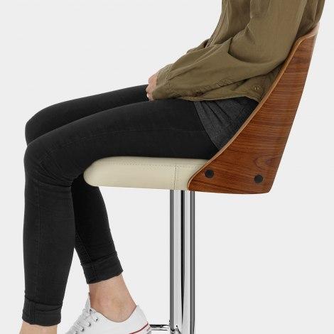 Carmen Leather Stool Walnut & Cream Seat Image