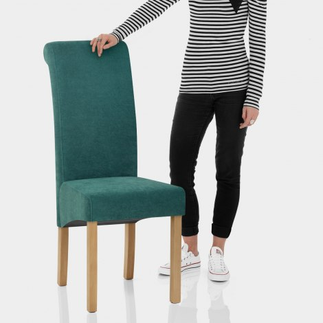 Carolina Dining Chair Teal Fabric Features Image