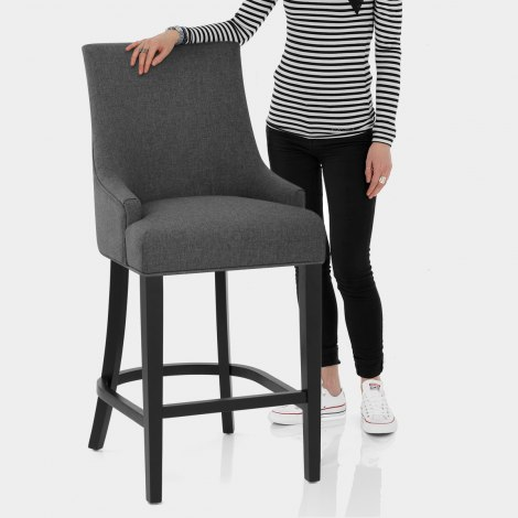 Cavendish Bar Stool Charcoal Fabric Features Image