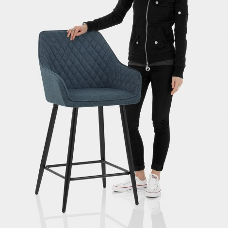 Cello Bar Stool Blue Fabric Features Image