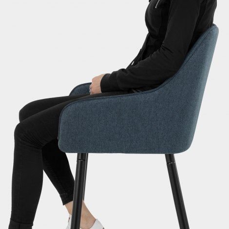 Cello Bar Stool Blue Fabric Seat Image