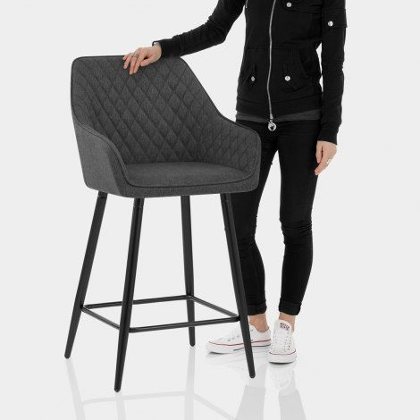 Cello Bar Stool Charcoal Fabric Features Image