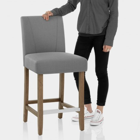 Chartwell Wooden Stool Grey Fabric Features Image