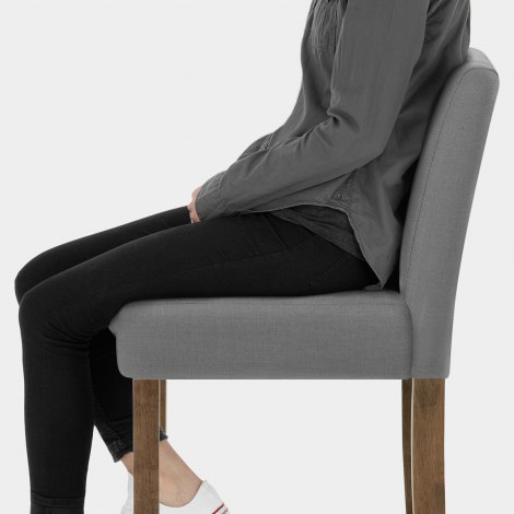 Chartwell Wooden Stool Grey Fabric Seat Image