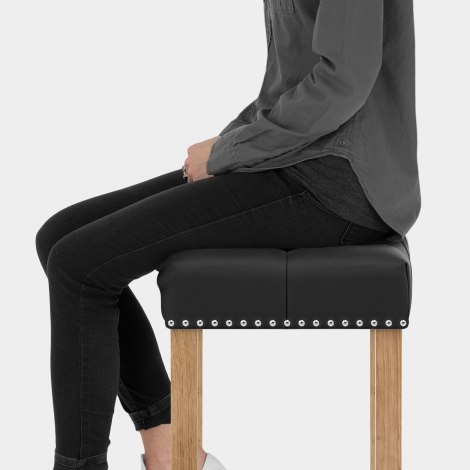 Chelsea Oak Stool Black Leather Seat Image