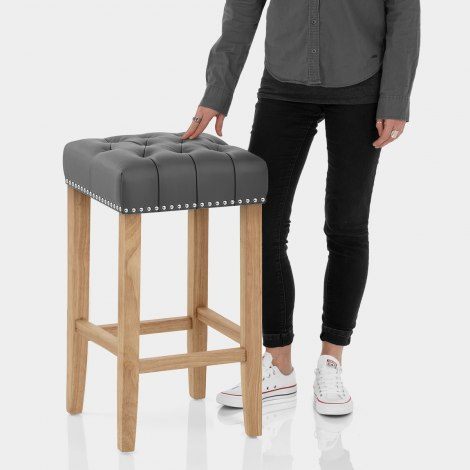 Chelsea Oak Stool Grey Leather Features Image