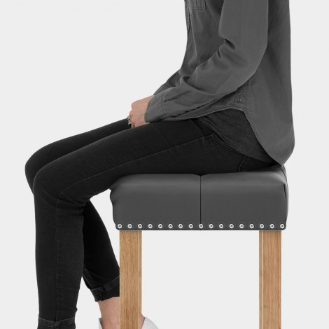 Chelsea Oak Stool Grey Leather Seat Image