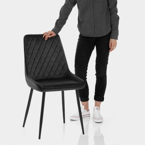 Chevy Dining Chair Black Velvet Features Image