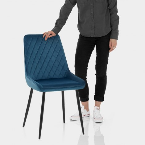 Chevy Dining Chair Blue Velvet Features Image