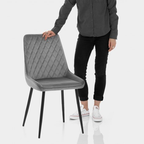 Chevy Dining Chair Grey Velvet Features Image
