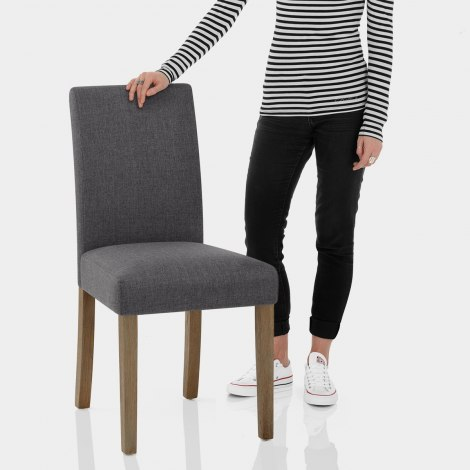 Chicago Oak Chair Charcoal Fabric Features Image