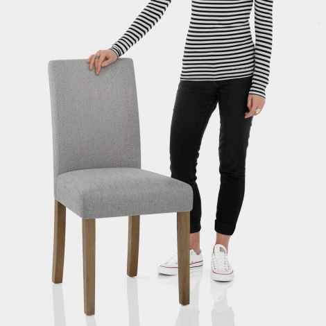 Chicago Oak Chair Grey Fabric Features Image