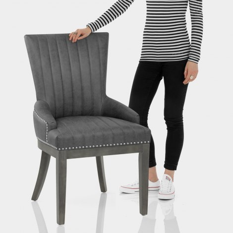 Chiltern Wooden Dining Chair Grey Features Image