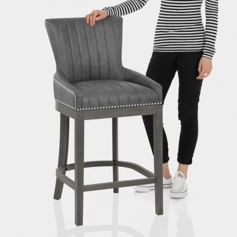 Chiltern Wooden Bar Stool Grey Features Image