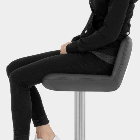 Christiana Real Leather Brushed Stool Grey Seat Image