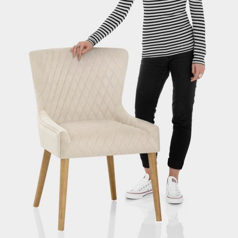 City Oak Chair Cream Velvet Features Image