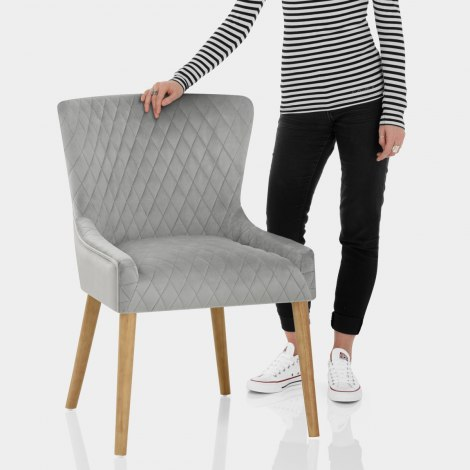 City Oak Chair Grey Velvet Features Image