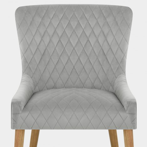 City Oak Chair Grey Velvet Seat Image
