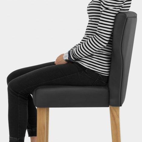 Clifton Oak Bar Stool Black Seat Image