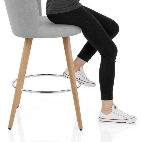 Club Bar Stool Grey Fabric Seat Image