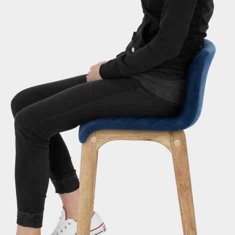 Colt Oak Stool Blue Velvet Seat Image