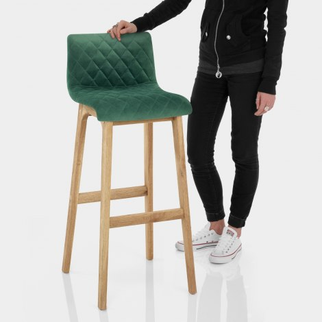 Colt Oak Stool Green Velvet Features Image