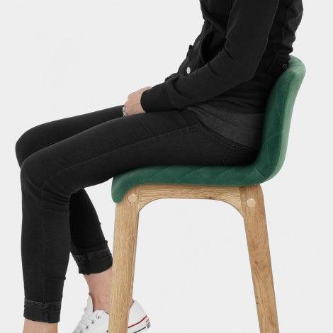 Colt Oak Stool Green Velvet Seat Image