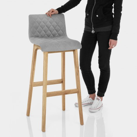 Colt Oak Stool Grey Velvet Features Image