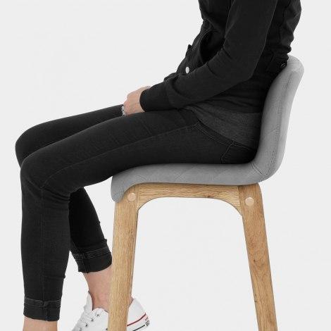 Colt Oak Stool Grey Velvet Seat Image