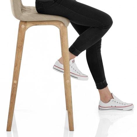 Colt Oak Stool Mink Velvet Seat Image
