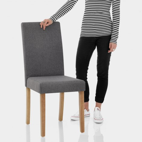 Columbus Oak Dining Chair Charcoal Features Image