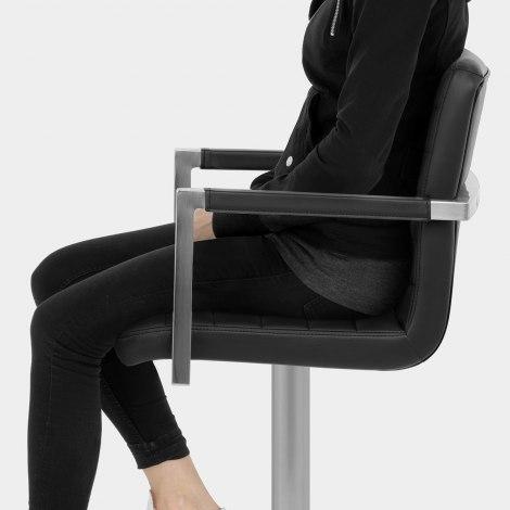 Como Brushed Steel Stool Black Seat Image