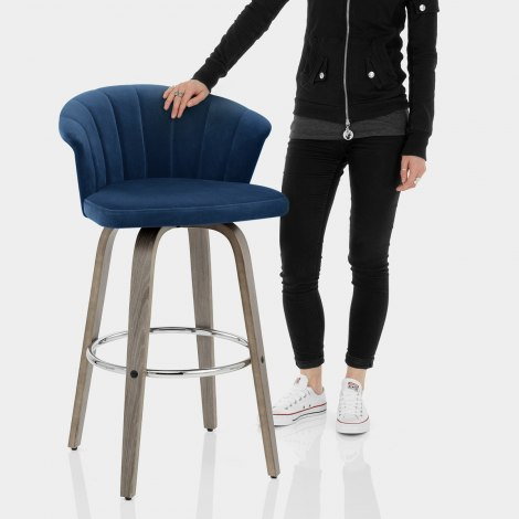 Concerto Wooden Stool Blue Velvet Features Image